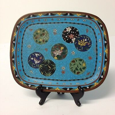 Vintage Chinese Cloisonné Tray With Floral Decoration