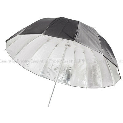 Black/Silver Deep Parabolic 130cm Umbrella Quality Durable Brolly Studio