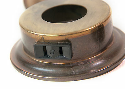 Vintage round metal electric Outlet receptacle with cover