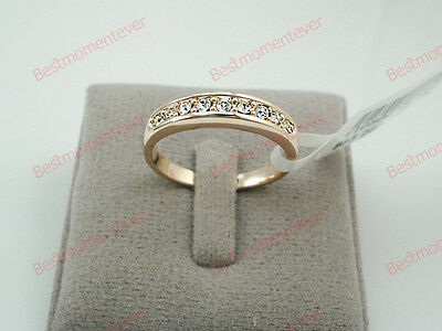 18K Rose gold 0.3 ct Round cut Diamond Half Eternity Ring FREE PP