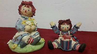 """Lot Of Two Adorable Raggedy Ann Figurines 2 1/2"""" & 4"""" One Is Enesco"""