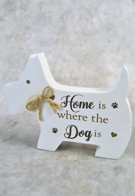 Quirky standing dog scottie plaque  Home is where the Dog is