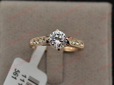 18K Rose gold 1 ct Round cut Diamond Retro Solitaire Ring FREE PP