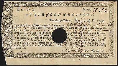 State of Connecticut, warrant for payment to soldier in Continental Army, 1780