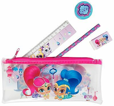 Girls Back To School Shimmer And Shine Filled Pencil Case Ruler Rubber Pencil