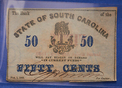 State of South Carolina 50¢ Fractional Note