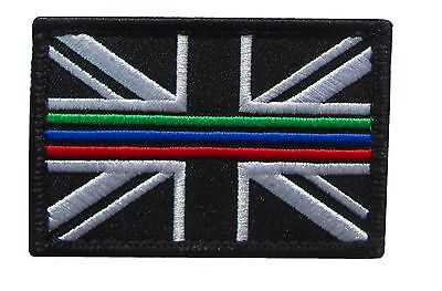 Triple Thin Blue Green Red Line Emergency Service Union Jack Patch Badge SMALL