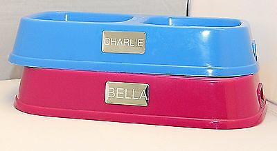 Personalised Dog Cat Puppy Pet Double Feeder Bowl  With Name Pink/Blue armitage