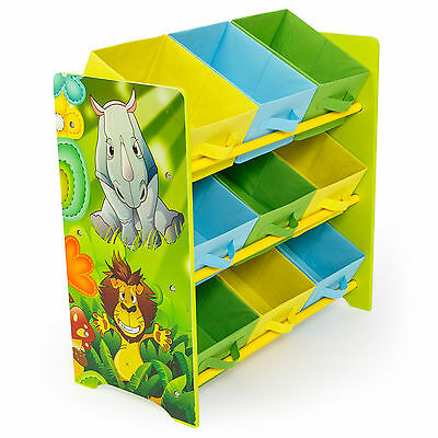 Kids Childrens Jungle Safari 3 Tier Toy Storage Set 9 Bins Baskets Books Shoes