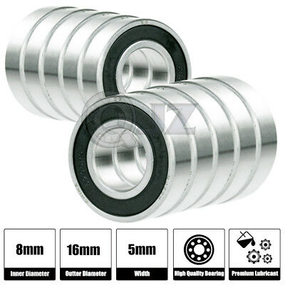 10x 624-2RS Ball Bearing 4mm x 13mm x 5mm Rubber Seal Premium RS 2RS Shielded