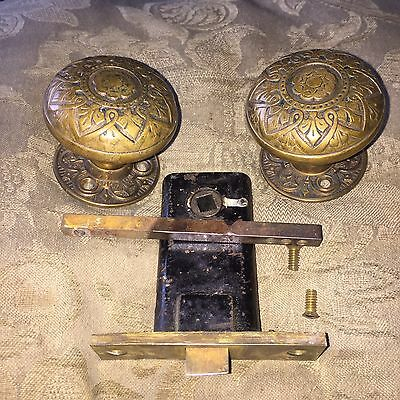 Antique Russell & Erwin VICTORIAN Eastlake Cast Bronze DoorKnobs, Rosettes,Latch