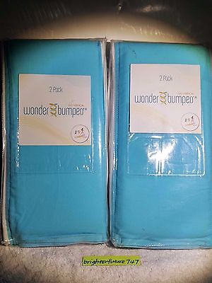 NEW LOT OF 2! Go Mama Go Designs Wonder Bumpers, Blue/cream. 4 Total! Free Ship!