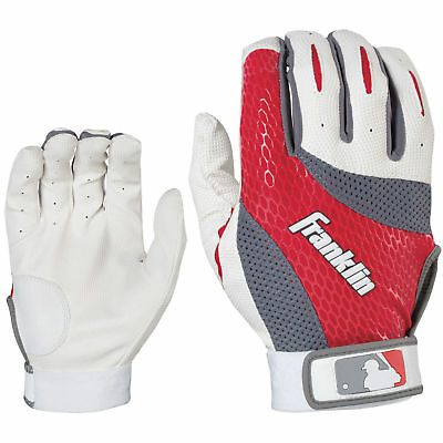 Franklin 2ND Skinz Youth & Adult Baseball Batting Gloves White-Red pair