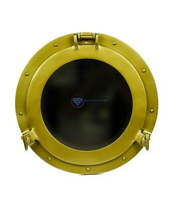 "15"" Antique Brass Powder Coated Nautical Pirate's Porthole Mirror Wall Decor"