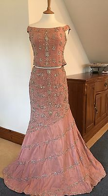 Vintage Pink Pure Silk Embroidered Silver Lengha Two Piece Wedding Dress Size 10