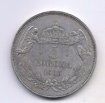 1900 Hungary Silver 5 Korona--Exceptional  Details !!