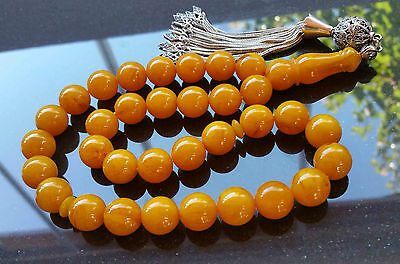 Yellow marble Amber Bakelite 33 Prayer Beads Misbaha Tasbih