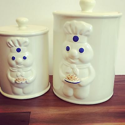 Two Pillsbury Doughboy Glass Canisters From 1999