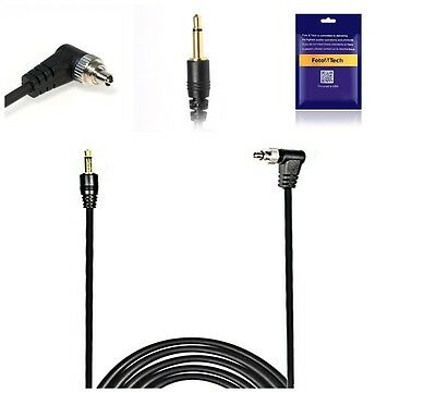 FotoTech 16 FT/5 Meter 3.5mm to Male Flash PC Sync Cable Screw Lock Nikon Canon