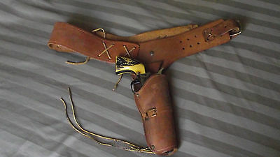 Vintage Adult Leather Holster and Belt, Adjustable, Quick Draw