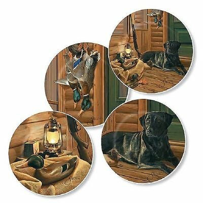 """Black Lab Mini Collector Plates Wild Wings Bountiful Day Series Set of 4-4 1/2"""""""