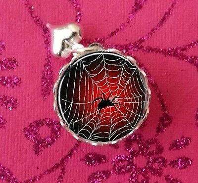 Halloween Spider in Web Silver Glass Bubble Charm, Pendant *USA*