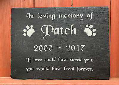 Engraved Personalised Pet Memorial Slate Headstone Grave Marker Stone Plaque Dog