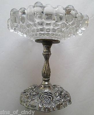 Vtg Cast Pewter & Glass Pedestal Compote Dish Bowl GEM ACC Hollywood Regency