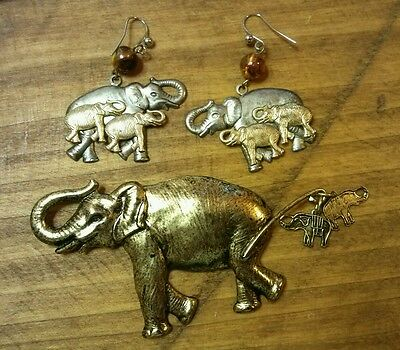 Elephant Earrings and Pin ~ Mixed Metals