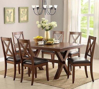 Dining Chairs Set Of 2 Brown Solid Wood Dining Room And Kitchen Furniture New