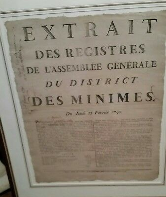FRENCH REVOLUTION BROADSIDE 1790 Framed with provanance