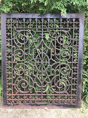 LARGE VICTORIAN Cast Iron Window Grate Antique Architecture Garden Basement