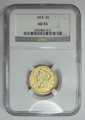 1854 NGC AU55 $5 gold half eagle, great original looking piece w/lots of luster