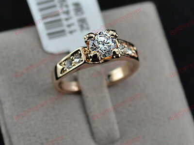 18K Rose gold 0.5 ct Round cut Diamond 4 prong Solitaire Ring FREE PP