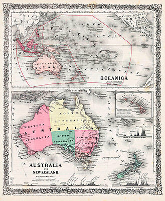 Australia and New Zealand Oceania 1858 Vintage A1+ High Quality Canvas Print