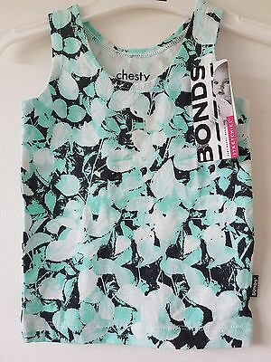 BNWT Size 1 Bonds Baby Stretchies Leaves Chesty Boy Girl Singlet Top
