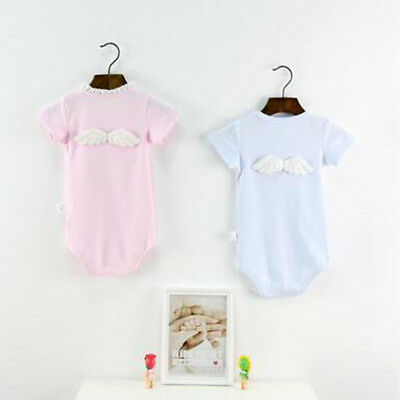 Lovely Baby Angel Wings Design Rompers Infant Babys Cotton Clothes Short Sleeve