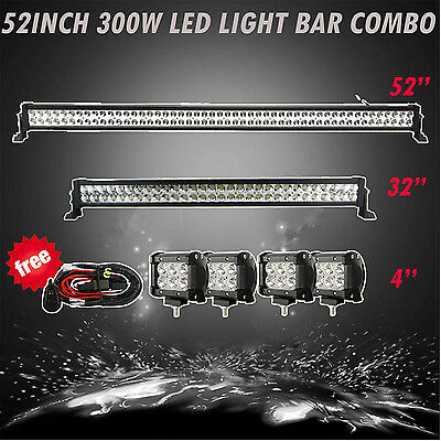 """52"""" + 32in LED LIGHT BAR + 4INCH CREE WORK PODS OFFROAD SUV 4WD FORD JEEP ATV 50"""
