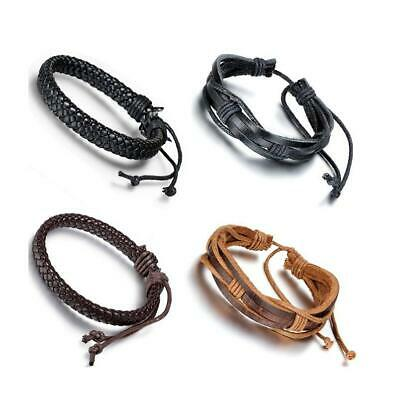 4pcs Braided Wrap Multilayer Leather Mens Womens Bracelet Wristband Adjustable