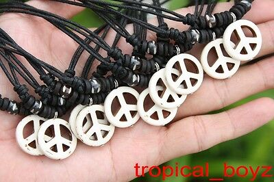 10 Handmade Artificial Stone White PEACE with Bone Beads Necklaces Wholesale