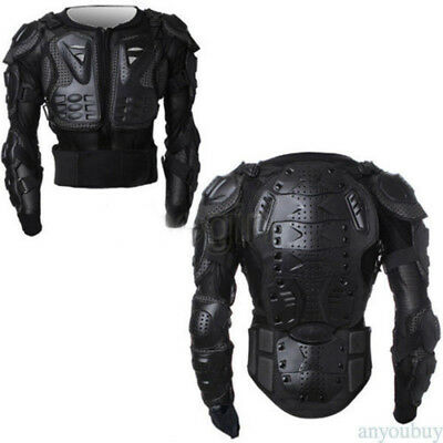 Black Full Motorcycle Body Armor Shirt Jacket Motocross Back Shoulder Protector