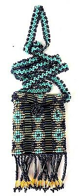 Guatemalan Beaded Medicine Bag Pouch Necklace Handmade Multi-Color New