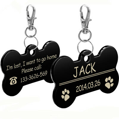 Bone Shape Laser Engraved Pet Disc Tags Personalized Name Owner Phone Dog Tag