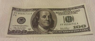 $100 Dollar Bill (Not Real) Play Money Great Detail with Sleeve
