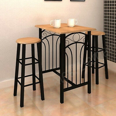 3 Piece Kitchen Breakfast Bar Dining Table & Chair Stools Set High Wood & Steel