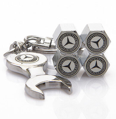 4pcs Stainless Steel Car Tire Valve Stems Cap Wrench Keychain Fit Mercedes Benz