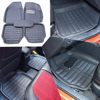 5Pcs Black Universal Car Floor Mats FloorLiner Front&Rear Carpet All Weather Mat