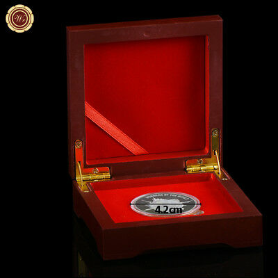 WR Wooden Single Coin Display Storage Box Collectible Case For Coins Medals 42mm