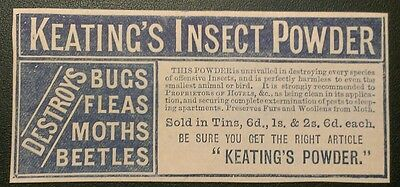 Keating's Insect Powder 1884 Destroys Bugs Beetles Advert Rare!