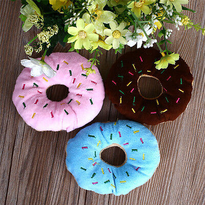 Hot Lovely Pet Dog Puppy Cat Squeaker Quack Sound Toy Chew Donut Play Toys 1pc